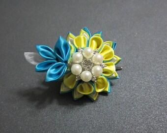 Double layered kanzashi Flower   Blue & Yellow flower