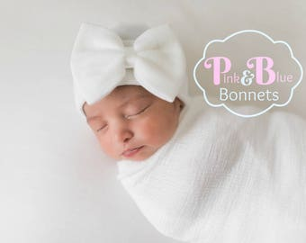 Baby Girl Newborn Hat with bow Newborn Baby Girl Hat baby hat hospital baby hat white hat white newborn hat with bow newborn baby girl hat