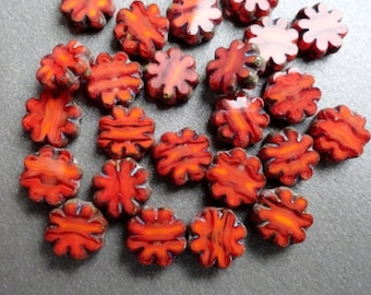 Tiny Red Daisy Beads - Premium Czech Glass - Table Cut Beads - Czech Glass Flowers Red - Bead Soup Beads