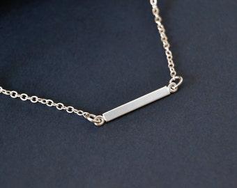 Skinny Bar Sterling Choker Necklace, 13 Inch Silver Choker Necklace, 14 Inch Necklace,  Choker, Sterling Silver