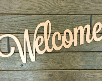Welcome Wood Sign Letters