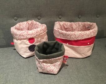 Set of baskets girl fabric