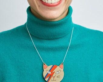 David Bowie Necklace, Bowie jewelry, Gift for Bowie fan, Ziggy stardust cat, Aladdin Sane, Cat lover, David Bowie cat, David Bowie jewelry