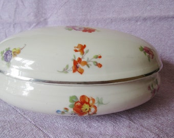 Vintage French Limoges Large Oval Porcelain Trinket Box Flowers Chambon