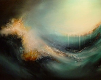 "Large Canvas Abstract Oil Painting by Artist Simon Kenny "" Elementary Evolution"""