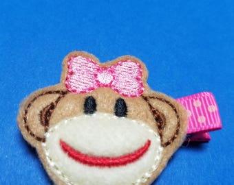 Sock Monkey Girl Feltie Hair Clip Clippie - For Infant Toddler Girl