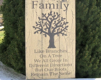 FAMILY ~ Like Branches On A Tree ~ Family Sign/ Upcycled Pallet Sign/ Recycled Wood Sign/Farmhouse Sign/ Rustic Sign/ Wood Country Sign/