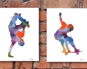 Skateboard Art - Set of 2 Skateboarding Art Prints - Watercolor Painting - Wall Decor