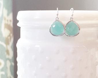 MOLLY | Aqua Dangle Earrings | Aqua Teardrop Earrings | Aqua Bridesmaid Earrings | Sterling Silver + Aqua Earrings | Bridesmaid Gifts