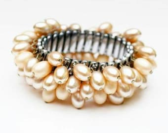 Pearl Expansion Bracelet  cha cha stretch bangle  creamy off white oblong beads