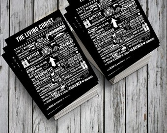 The Living Christ Excerpts HANDOUTS LDS Digital Printable Instant Download Black