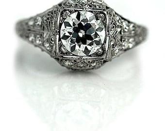 "Rare Art Deco Engagement Ring 1930's European Cut Diamond Engagement Wedding Anniversary Ring Platinum "" The Colonia"""