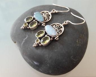 Peruvian Opal and Green Peridot earrings in Sterling Silver.