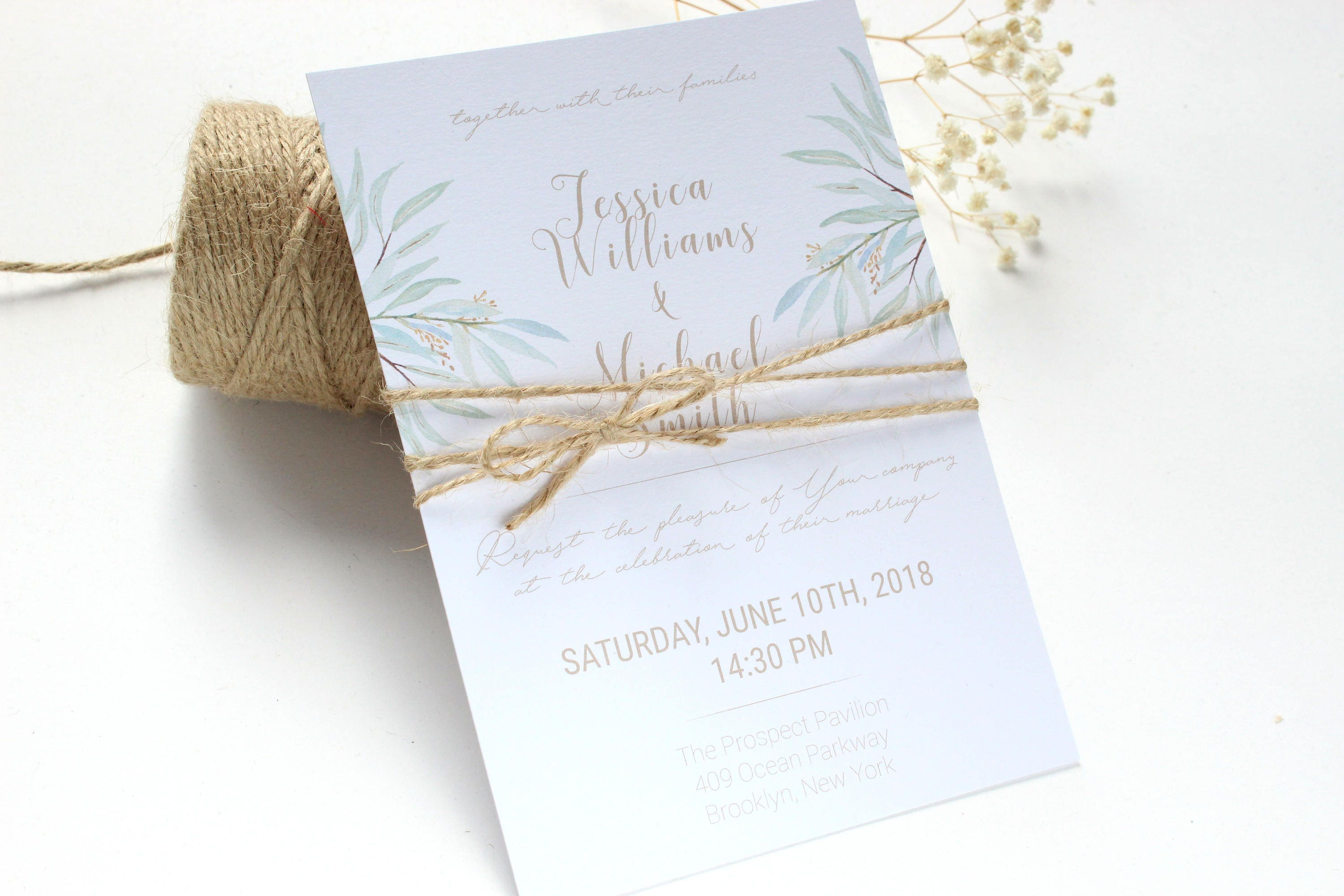 SAMPLE Eucalyptus Wedding Invitation Rustic Wedding