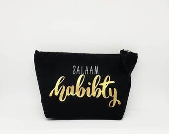 "Black and Gold ""Salaam Habibti"" Small Zip Cosmetic Bag/Pencil Case"