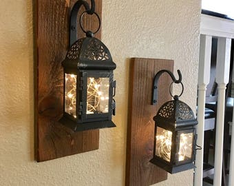 Set Of Hanging Lantern Sconces,Farmhouse Wall Decor, Lantern Sconces,  Black, Lanterns, Wood Sconce With Lantern, Country Decor, Small