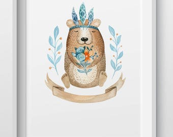 Woodland animal bear nursery print