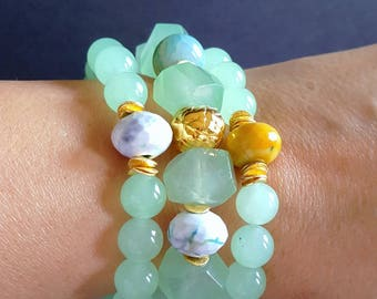 Spring Sale 15%Seafoam Green Chunky Stack Bracelet with Agate and Gold Vermeil Accents Set of 3 or Sold Individually Gift for Her