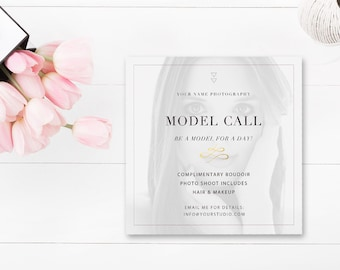 Model Call for Photographers - Photography Marketing Template - Photoshop Template - Boudoir Model Call Template - INSTANT DOWNLOAD