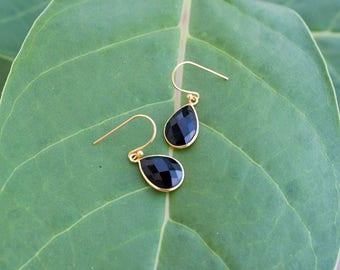 Black Onyx Earrings, Sterling Silver, Gold Filled, Onyx Jewelry, Black Teardrop Earrings, Black Dangle Earrings, Black Stone Earrings, Gift