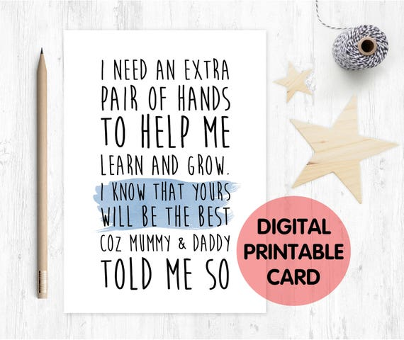 PRINTABLE will you be my godfather card, printable godfather card, godfather poem, godfather proposal, godfather card digital