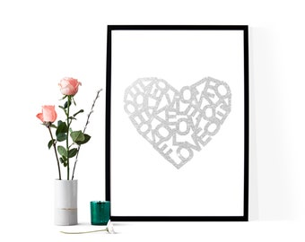 Meaningful Gift, Love Gift Card for her, Silver Heart Postcard, Love Letters Heart, Lovers Postcards, Printable Postcard, Postcard Wall Art