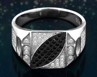 Men's Black & White Cz .925 Sterling Silver Wedding Band Ring Size 9-12 Ss100917
