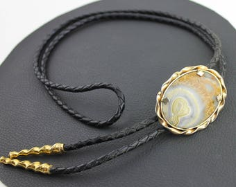 Carmel Brown Gray and White Agate Stone Bolo with Black Leather Cord