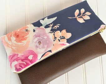 Blush floral foldover clutch-vegan leather foldover bag-bridesmaid gift-floral clutch-fold over clutch-vegan leather clutch bag-floral purse