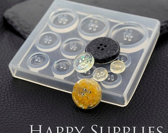 1 Set Silicone Mold For Button - 10 mm / 12mm / 15mm / 20mm / 25mm Different Size Button - DIY Resin Button  (BM062)