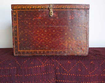Red Antique Painted Box with Double Elephants Old Wooden Manuscript Box India Box Classical Painting