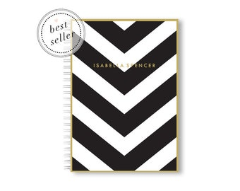 Personalized Notebook Spiral - A5 Notebook Lined or Blank with Chevron Notebook Cover in 24 Colors and Personalized with Name