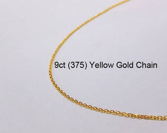 9ct 375 Solid Yellow Gold Diamond Cut Oblong Trace Link Chain Necklace for Pendant Jewellery - PS70