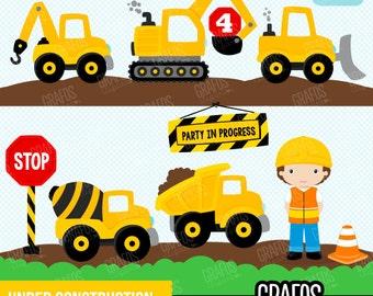 UNDER CONSTRUCTION  - Digital Clipart Set, Construction Clipart, Construction Trucks Clipart, Construction Signs.