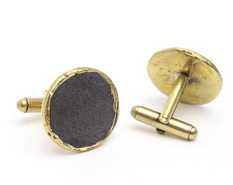 Matte Black and Bronze Cuff Links Mens Cufflinks, Accessories, Jewelry, Suit and Ties