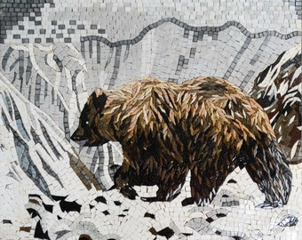 Grizzly Bear in the Snowy Mountains Mosaic