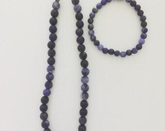 Blue Matte Sodalite Necklace & Bracelet