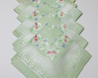Vintage Napkins Occupied Japan Set Of 5 Plus 1 Mint Green Damask