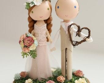 custom wedding cake topper - wood slab base
