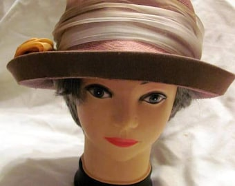 Vintage Mocha Straw Hat with Roses