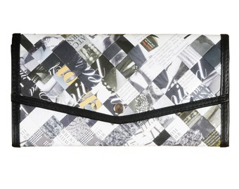 Large envelop wallet magazine paper, FREE SHIPPING - Black and white wallet- cash envelope wallet- Upcycled purse - womens wallet