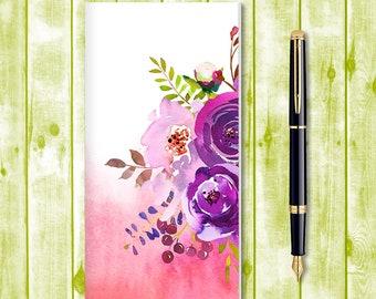 Travelers Notebook Insert, Midori Insert, Bullet Journal, Fauxdori Insert, Traveler's Notebook Refill, Watercolor Flowers