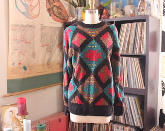 aztec tribal print sweater . nubby mens pullover sweater