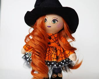 Witch Doll, witch, rag Doll, gift, halloween witch, Halloween Witch, Tilda doll, Handmade doll, Fabric doll, textile doll, Muñecas