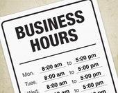 Business Hours Printable ...