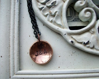 """Copper Initial Necklace """"Carved in a Tree"""" Hand Hammered and Polished"""