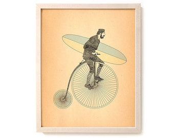 """Surf Bicycle Art Print """"Penny Farthing"""""""