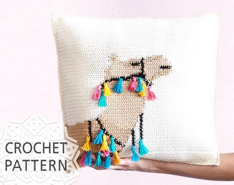"Camel Pillow, Crochet Pattern, Pillow cover, Cushion, Home decor, 16""X16"", Summer Cushion, Tassel, Camel chart, Boho, Download PDF"