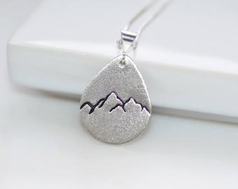 Sterling Silver Teardrop Mountain Necklace