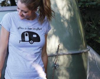 Camping, adventure, t-shirt, tee shirt, ladies, relax, boler